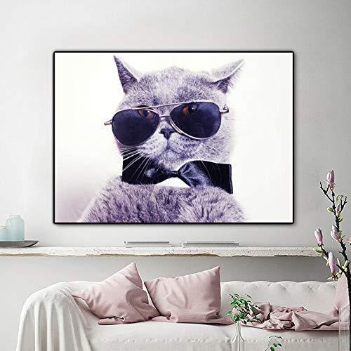 Douwert Cuadro en Lienzo Moderno, Carteles e Impresiones de Animales, Lindo Gato con Gafas, Cuadros de Pared para niños, Sala de Estar, decoración del hogar 40x60cm