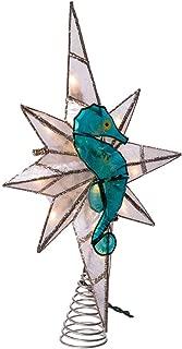 Kurt Adler Kurt S. Adler 10-Light Capiz Bethleham Star with Seahorse Treetop, Blue, White, Silver