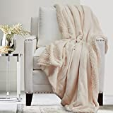 The Connecticut Home Company Soft Fluffy Warm Velvet and Sherpa Throw Blanket, 70x60, Luxury Thick Fuzzy Blankets for Home and Bedroom Decor, Comfy Washable Accent Throws for Sofa Beds, Couch, Cream