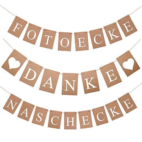 FesttagsLiebe, Set mit 3 Girlanden, Danke Naschecke Fotoecke, Vintage Buchstabengirlanden Deko