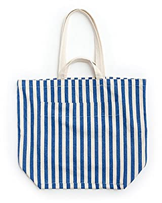 BAGGU Giant Pocket Tote, Oversized Stylish Canvas Bag for Easy Carrying, Summer Stripe