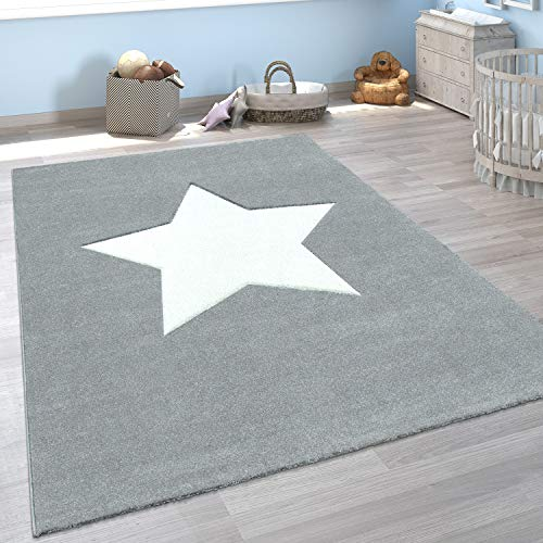 Paco Home Kinder-Teppich, Spiel-Teppich Für Kinderzimmer, Mit Stern-Motiv In Grau, Grösse:160x230 cm