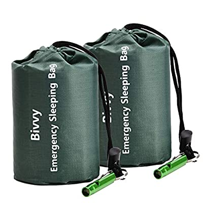 TOBWOLF 2PCS Emergency Sleeping Bag, 47.24x78.74inches / 120x200cm Lightweight Windproof Survival Bivy Sack with 1 Whistle, Compact Thermal Mylar Rescue Blanket for Camping, Traveling, Hiking - Green