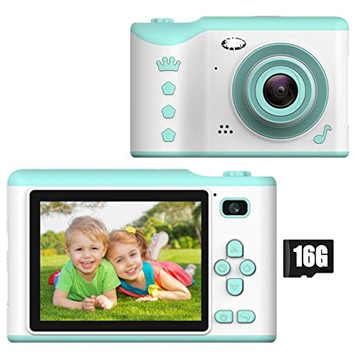 Kids Digital Camera - 18MP Children's Camera with Large Touch Screen for 3-12 Years Old Boys and Girls, Rechargeable Shockproof Camcorder Camera with 16GB TF Card,Blue