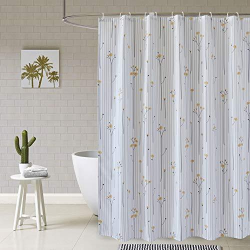 MYQIANG Blumen Duschvorhang Polyester Waschbarer Badezimmer Gardinen Antischimmel und Wasserdicht Badewannenvorhang mit Beschwertem Saum & Vorhanghaken, 180 x 180 cm (Weiß)