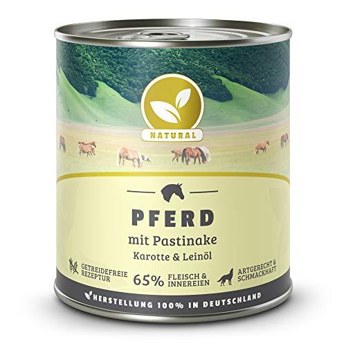 Hundeland Natural | Pferd + Pastinake | 6 x 800 g | getreidefreies Hundefutter | Nassfutter für alle Hunderassen | viel frisches Fleisch | artgerecht & besonders gut verträglich