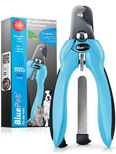 Bluepet® KrallenSchön einstellbare Krallenschere Nagelschere für große Hunde, Katzen & Kleintiere - Inklusive Nagelfeile im Griff zur optimalen Krallenpflege - Als Krallenzange & Krallenschneider