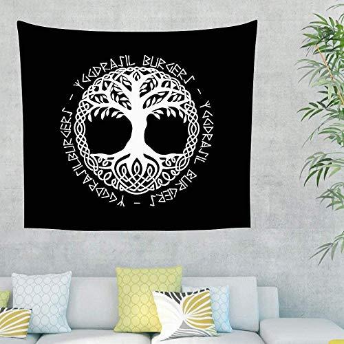 Chenso Tapiz Colgante de Pared Árbol de la Vida en Blanco y Negro Tapiz rúnico Tapiz de tótem para decoración de Dormitorio-El 150x130cm_Blanco