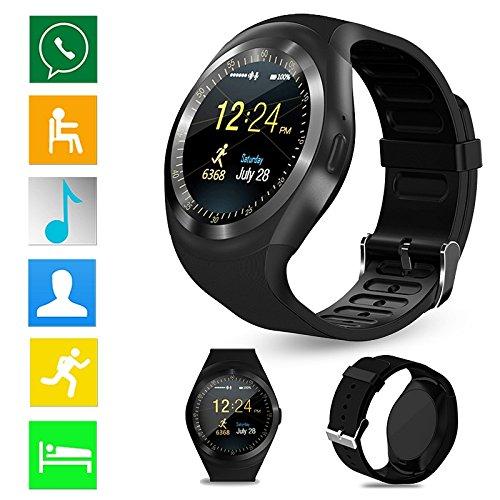 Smartwatch Y1 alleen Engelse Bluetooth smartwatch met camera, TF-/simkaartsleuf, slaapmonitor, stappenteller, alarm, fotografie, inactiviteitsherinnering, smartwatch compatibel met Samsung, HTC, LG, Sony, Huawei Android en iOS smartphones (gedeeltelijk functie) (zwart)