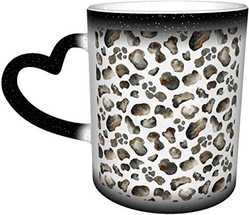 Patrón de fondo transparente con estampado de leopardo Taza que cambia de color sensible al calor en el cielo Tazas de café Taza de cerámica Regalos personalizados para amantes de la familia Amigos