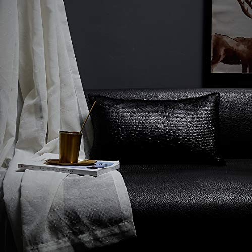 Coastline Funda de cojín rectangular con lentejuelas, color negro, para sofá, silla, decoración del hogar, cafetería, 30 x 50 cm