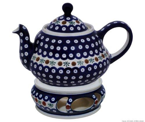 Original Bunzlauer Keramik Teekanne 1,5 Liter mit integriertem Sieb und Stövchen im Dekor 41