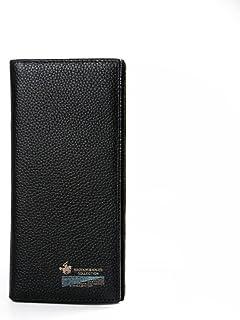 BeniMen's wallet leather wallet full layer leather short wallet wisdom long wallet soft skin-Black long