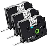 Greateam Compatible Clear Label Tape Replacement for Brother TZe P-Touch Clear Tape 12mm 0.47' TZe-131 TZ-131, P-Touch 1/2 Inch Label Maker Tape Use for Brother PTD210 PTH110 PTD400 PTD600 PT1290,3PK