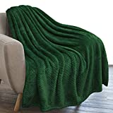 PAVILIA Waffle Textured Fleece Throw Blanket for Couch Sofa, Emerald Green | Soft Plush Velvet Flannel Blanket for Living Room | Fuzzy Lightweight Microfiber Throw for All Seasons, 50 x 60 Inches