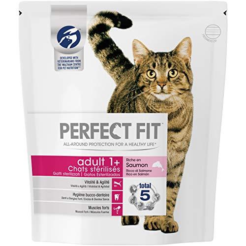 Perfect Fit Croquettes pour chat adulte stérilisé, riche en saumon, 4 sacs de 1,4kg