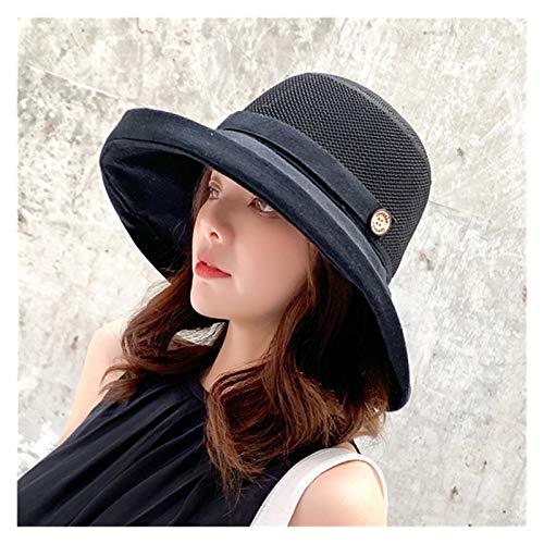 YSJSPOL Hat Summer Big Wide Brim Flower Sun Hat for Women Protection Beach Hat Femal Sun Hats Lady's Bucket Hat (Color : Yellow, Size : As description)
