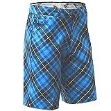 Royal & Awesome Men's Patterned Golf Shorts, Blue Plaid Trews, 36W