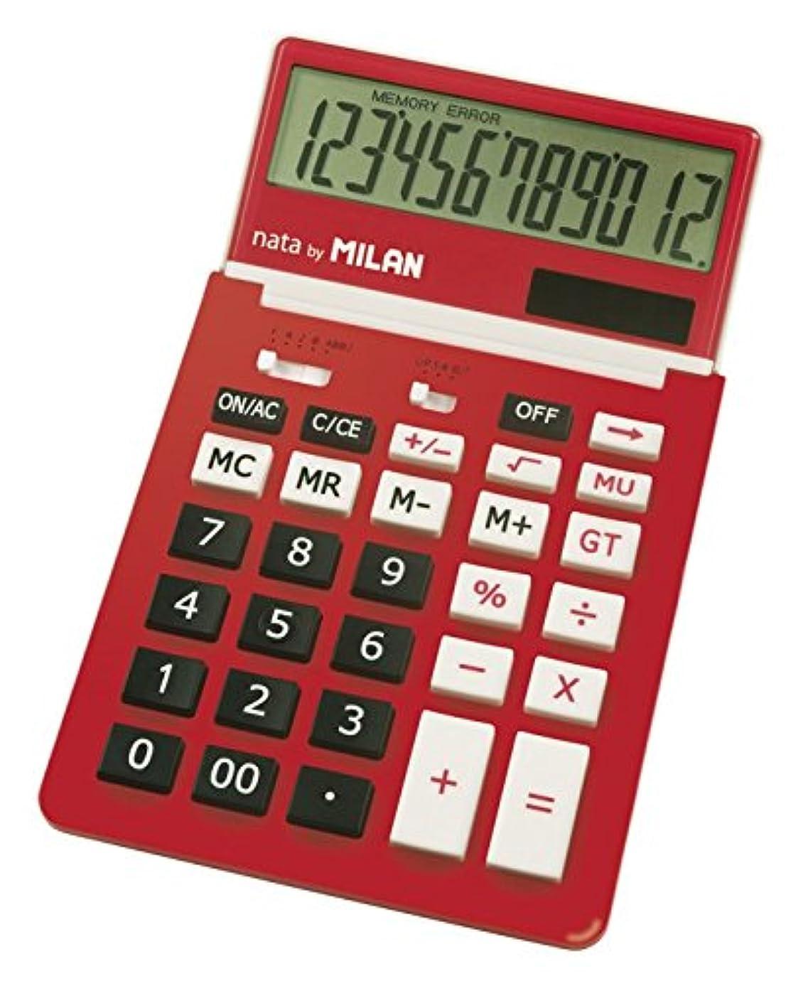 スキーム言い聞かせる保守的MILAN カリキュレーター 12桁電卓 150212 レッド