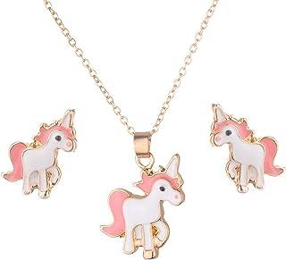 Beuya Unicornio Conjuntos de Joyas de Boda para Mujer, Fashion Collar con Colgante y Pendientes Mejor Regalo Fiesta para N...