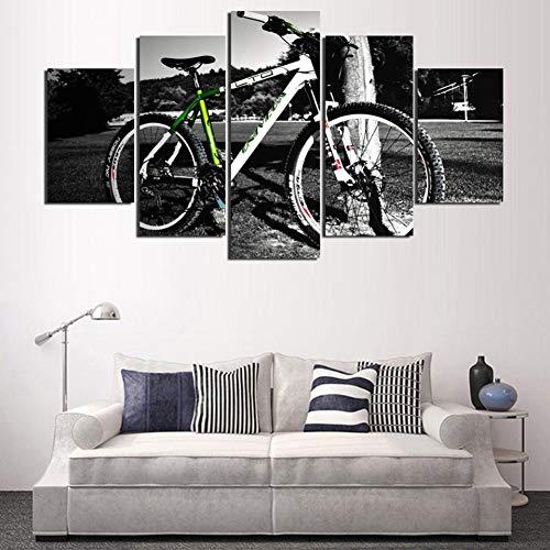 WOKCL Canvas Schilderij Populaire Home Decoratie Art Schilderijen Op Doek Gedrukt Muur Modulair 5 Stuks/Stks Mountainbike Foto's Voor Woonkamer HD,Geen Frame