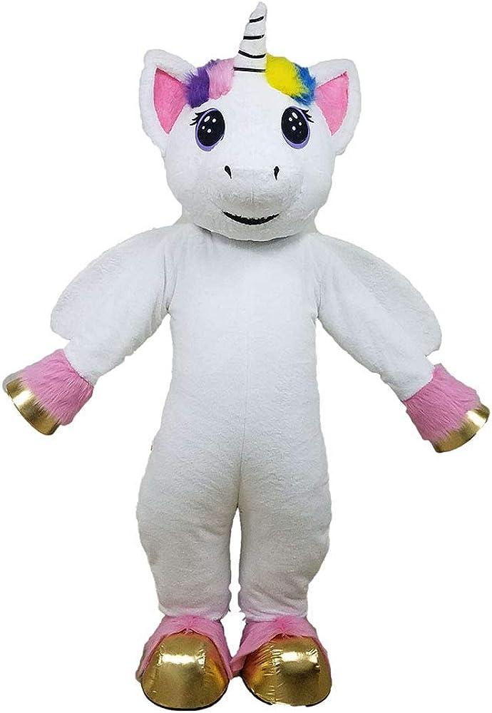 Lovley White Unicorn Superior Mascot Costume Large discharge sale Full Plush Pony Suit Ad Body
