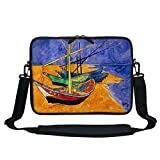 Meffort Inc 13 13.3 Inch Neoprene Laptop/Ultrabook/Chromebook Bag Carrying Sleeve with Hidden Handle and Adjustable Shoulder Strap - Vincent van Gogh Fishing Boats on the Beach
