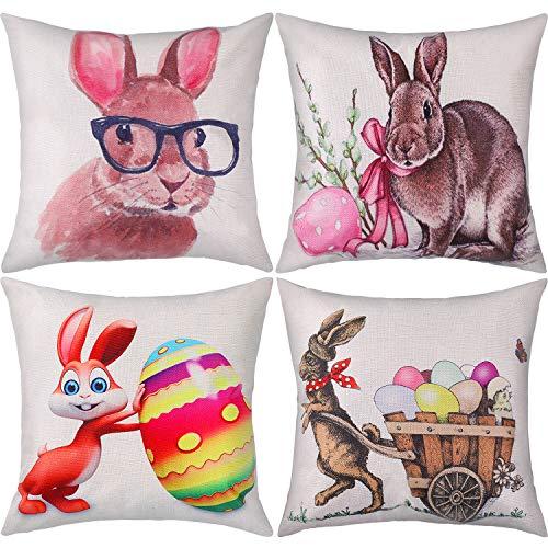 Zhanmai 4 Pezzi Copricuscino di Pasqua Fodera per Cuscino Modello di Uova di Coniglio Federa per Festa del Giorno di Pasqua Fornitura (Colore Set 2)