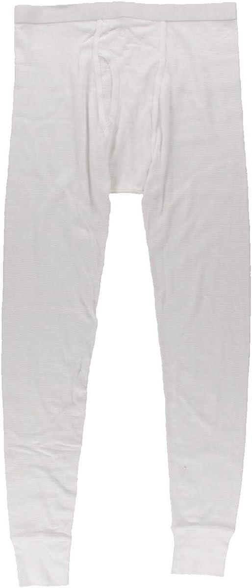 Alfani Mens Waffle Knit Thermal Long Underwear White S