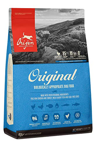 ORIJEN Dry Dog Food, Original, Grain Free, High Protein, Fresh & Raw Animal Ingredients, 4.5lb