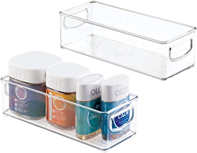 """mDesign Stackable Plastic Storage Bin Caddy with Handles - Organizer for Vitamins, Supplements, Serums, Essential Oils, Medical and First Aid Supplies - 3"""" High, 2 Pack - Clear"""