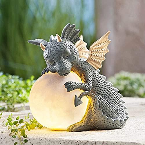 Statua ornamentale da giardino con drago meditato, statuetta da giardino, scultura in resina, 16 cm, decorazione da giardino