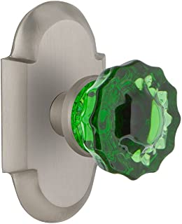 Nostalgic Warehouse 724224 Cottage Plate Privacy Crystal Emerald Glass Door Knob in Satin Nickel, 2.375