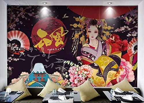 Comida Japonesa Sushi Kimono Gato Afortunado Moda ecológica Papel Tapiz Mural Papel Tapiz Pintado a Mano Restaurante Pintura Herramientas de fondo-400x280cm