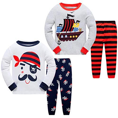 2 Pack Set Kinder Mädchen Jungen Langarm Schlafanzug Giraffe Baumwolle Einhorn Dinosaurier Baumwolle Nachtwäsche T-Shirt und Hose Outfits Set (Pyj#N, 122)