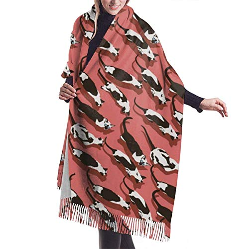 Patrón de gato siamés Bufanda de chal de moda Bufanda de invierno de cachemira para mujeres Hombres-Negro