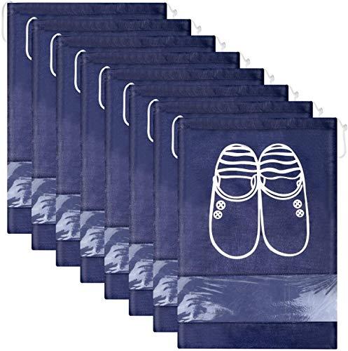 HUYIWEI Bolsas Zapatos,12 Piezas Zpatos Bolsa,Impermeable Zpatos Bolsa,Bolsa De Viaje para Zapatos,Ventana Transparente,Adecuado para Guardar Zapatos en casa y Viajar.(Azul Oscuro, Gris)