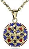 collar 20mm armonía oro rojo azul color flor medallón flotante musical ángel llamador campana suave collar de regalo