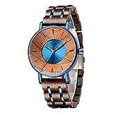 Emibele Reloj de Pulsera de Madera Natural y Amigable con Piel, Correa Ajustable Regalo Bueno para Hombre y Mujer, 160-220 mm de Muñeca - Azul