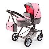 Bayer Design 18125AA Carrozzina per bambole City Neo, regolabile in altezza, convertible, rosa, grigio