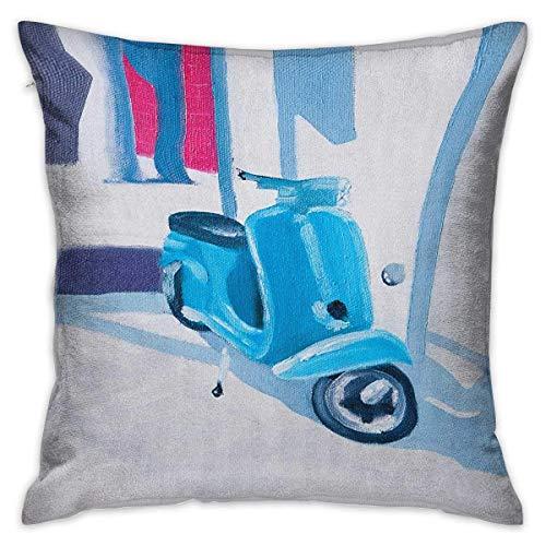 N\A Country Square Slip Funda de Almohada Mini Scooter en Suave mediterráneo Medio día Italian Town Life Symbol Art Paint Print Azul Gris Fundas de cojín Fundas de Almohada para sofá Dormitorio Coche