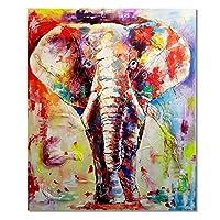 抽象的なカラフルな象の動物のポスタープリントアートワークギフト装飾壁アートキャンバス絵画リビングルームの装飾-50x75CMフレームなし