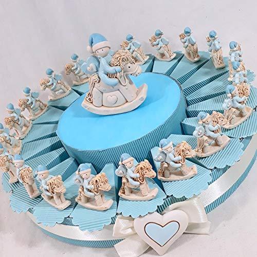 Torta bomboniera Cavalluccio a Dondolo Bambino Battesimo Nascita * (Torta da 35 fette)