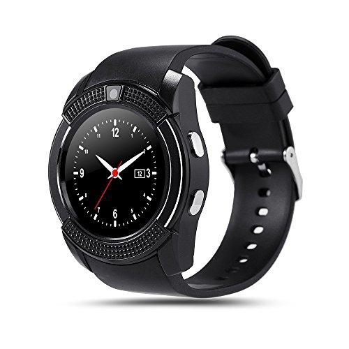 V8 Smartwatch Bluetooth Smart Horloge Touch Screen Polshorloge Met Camera SIM Card Slot Waterdichte Sport Horloge Voor Android,Black