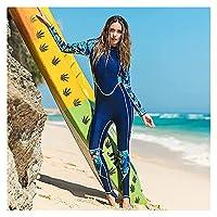 フロントジップ水着サーフィンスーツを備えた1部のウェットスーツの女性、長袖のフルボディダイビングウェットスーツラッシュガード (Color : Blue, サイズ : S)
