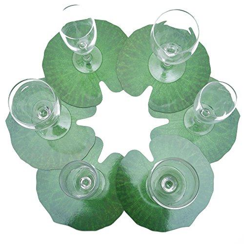 ROSEMARIE SCHULZ® 12-er Set Blumen Glasuntersetzer Motiv Seerosenblatt Grün - Bar, Kaffee, Tee, Bier und Wein Glas Untersetzer, Ø ca. 17cm
