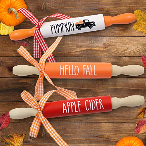 Fall Mini Rolling Pins Wooden Tiered Tray Decorative Favors Rustic Farmhouse Hello Fall Pumpkin Apple Cider Rae Dunn Home Décor Gift Ideas Supplies Set of 3