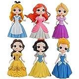 6 unids/lote 9 cm princesa figura juguete nieve blanco Alice Belle Cenicienta Ariel sirena enredado belleza modelo muñecas para niñas