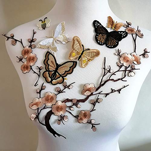 8pcs Butterfly Embroidery Applique Patch Iron on Cotton Applique Butterfly Patch (Khaki B)