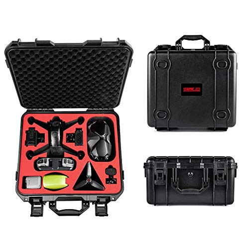 Tomat Waterproof Hard Case Storage Bag for DJI FPV Combo Drone with Goggles V2(Remote Controller, 3 Batteries,Charger, Propellers,Motion Controller,and So On) Abs Material